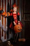 atrakcyjna Halloween czarownica w kostiumu Zdjęcia Royalty Free