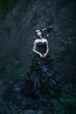 atrakcyjna kobieta czerni sukience fotografia royalty free
