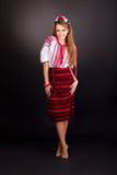 Atrakcyjna kobieta jest ubranym Ukraińską obywatel suknię fotografia royalty free