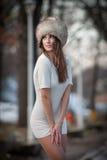 Atrakcyjna kobieta w zimy scenerii zdjęcia stock