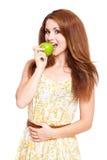 Atrakcyjna kobieta z jabłkiem Zdjęcie Royalty Free