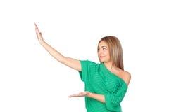 Atrakcyjna kobieta z ona ręki przedłużyć Obrazy Stock