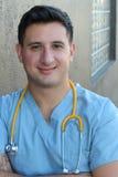 Atrakcyjna Męska latynos lekarka, pielęgniarka Odizolowywający lub Obrazy Stock