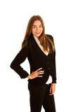 Atrakcyjna młoda biznesowa kobieta - korporacyjny portret odizolowywający zdjęcie stock