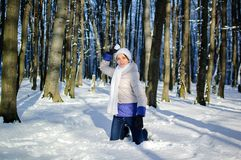 Atrakcyjna młoda kobieta ma zabawę w śnieżnym parku podczas pogodnej pogody w zimie Dziewczyna bawić się w snowball walce fotografia stock