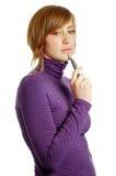 atrakcyjna młoda kobieta myślące Fotografia Stock