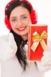 Atrakcyjna młoda kobieta trzyma białego signboard Obrazy Stock