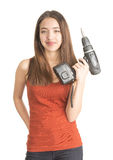 Atrakcyjna młoda kobieta trzyma cordless śrubokręt Zdjęcia Stock