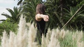 Atrakcyjna młoda kobieta w cudownej sukni chodzi w polu w wysokiej trawie zdjęcie wideo