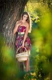 Atrakcyjna młoda kobieta w lato mody strzale Piękna modna młoda dziewczyna z słomianym koszem w parku blisko drzewa Obraz Stock