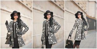 Atrakcyjna młoda kobieta w zimy mody strzale Piękna modna młoda dziewczyna w czarny pozować na alei Elegancka brunetka Fotografia Stock