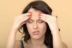 Atrakcyjna młoda kobieta Z Bolesną migreną obrazy stock