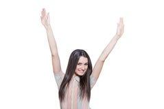 Atrakcyjna młoda kobieta z rękami podnosić Zdjęcie Royalty Free