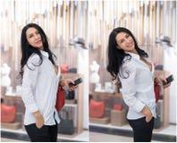 Atrakcyjna młodej kobiety moda strzelająca w centrum handlowym Piękna modna młoda dama w białej koszula w robić zakupy teren Fotografia Royalty Free
