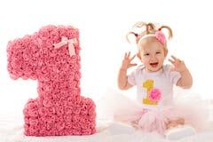 Atrakcyjna mała dziewczynka z numerowy jeden Obraz Stock
