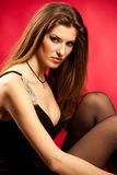 atrakcyjna odosobniona portreta czerwieni kobieta Obraz Royalty Free