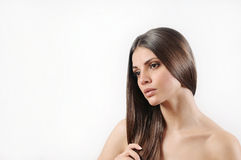 Atrakcyjna piękna kobieta z czystą skórą i silnym zdrowym bri Obraz Royalty Free