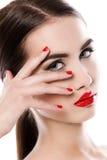 atrakcyjna pomadki czerwieni kobieta Obrazy Stock