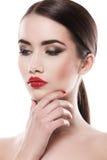 atrakcyjna pomadki czerwieni kobieta zdjęcia stock