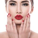 atrakcyjna pomadki czerwieni kobieta zdjęcie stock