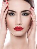 atrakcyjna pomadki czerwieni kobieta zdjęcie royalty free