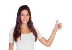 Atrakcyjna przypadkowa dziewczyna mówi Ok Fotografia Stock