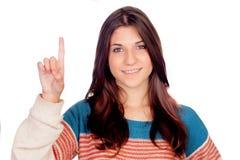 Atrakcyjna przypadkowa dziewczyna pyta mówić Zdjęcia Stock