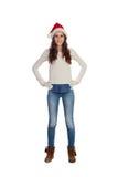 Atrakcyjna przypadkowa dziewczyna z Bożenarodzeniowym kapeluszem Obraz Stock