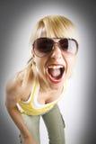 atrakcyjna przypadkowa krzycząca kobieta Zdjęcie Stock