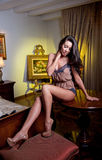 Atrakcyjna seksowna brunetka w bieliźnie pozuje rzucać wyzwanie. Portret jest ubranym prowokującą bieliznę w klasycznym boudoir zm Fotografia Stock
