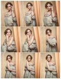 Atrakcyjna seksowna młoda kobieta jest ubranym futerkowego żakiet pozuje provocatively salowego Portret zmysłowa kobieta z kreaty Zdjęcie Stock