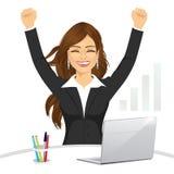 Atrakcyjna szczęśliwa bizneswoman odświętność royalty ilustracja