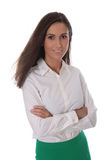 Atrakcyjna uśmiechnięta biznesowa kobieta odizolowywająca nad białą jest ubranym bluzką Obrazy Stock