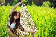 Atrakcyjna zmysłowa kobieta w zielonym trzciny polu Zdjęcie Stock