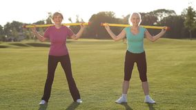 Atrakcyjne dorosłe sprawności fizycznych kobiety pracujące w parku out zdjęcie wideo