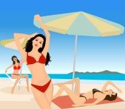 atrakcyjne dziewczyny plażowych royalty ilustracja