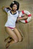 atrakcyjne kobiety kostium żeglarza Obrazy Royalty Free
