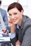 atrakcyjnego bizneswomanu zakończenia atrakcyjna praca Obraz Royalty Free
