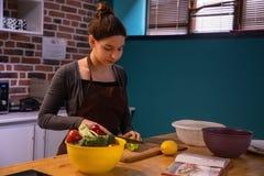 Atrakcyjnego kobieta modela tn?cy warzywa w kuchni fotografia stock