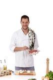atrakcyjnego szef kuchni męski rostbief smakowity Zdjęcie Stock
