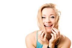 atrakcyjnej blondynki radosny portret Obrazy Royalty Free