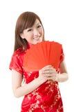Czerwona kopertowa Chińska kobieta Fotografia Stock
