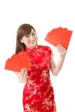 Czerwona kopertowa Chińska kobieta Obraz Stock