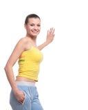 atrakcyjnej dziewczyny salowa pobliski strzału pozyci ściana Obraz Royalty Free