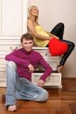 atrakcyjnej pary uśmiechnięci potomstwa Fotografia Royalty Free