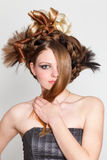 atrakcyjni bac fryzury białej kobiety potomstwa fotografia royalty free