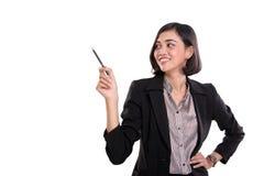 Atrakcyjni bizneswoman prezentaci gesty na whit, obraz stock