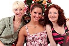 atrakcyjni boże narodzenia młodej trzy kobiety obraz stock