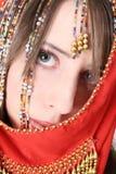 atrakcyjni brzucha tana tancerza tanowie ubierają dziewczyny wschodniej pomarańcze Zdjęcia Stock