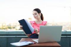 Atrakcyjni businesslady w różowej bluzce siedzą na dachu i pracują z laptopem fotografia stock